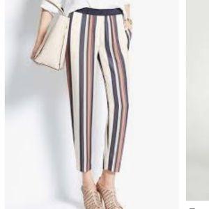 ANN TAYLOR Striped beach crop pull-on pants 2